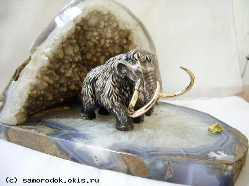 Mammoth from silver with nugget gild